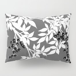 TREE BRANCHES GRAY WHITE WITH BLACK BERRIES Pillow Sham