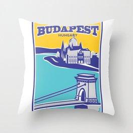 Budapest vintage poster, Chain Bridge Throw Pillow