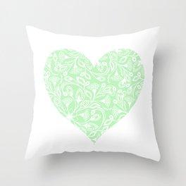 Floral Heart Design in Green Throw Pillow