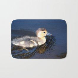 Cute Duckling Swimming in a Pond Bath Mat