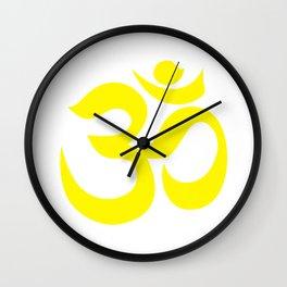 Yellow AUM / OM Reiki symbol on white background Wall Clock