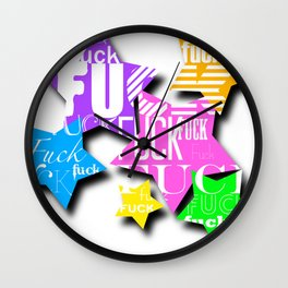 Expletive Stars Wall Clock