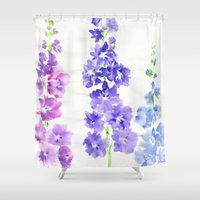 dolphins Shower Curtains featuring Dolphins by Kate Havekost Fine Art