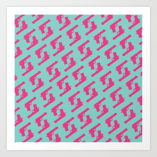 Mint and pink guns Art Print