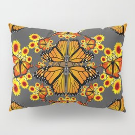 GREY COLOR SUNFLOWERS & MONARCH BUTTERFLY ABSTRACT Pillow Sham
