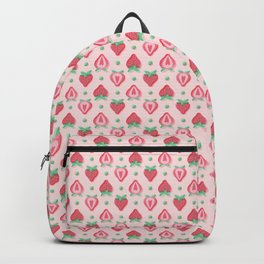 Strawberry Halves Pattern in Pink Backpack