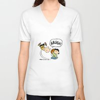 charlie brown V-neck T-shirts featuring Charlie Brown Foot Ball by PSimages