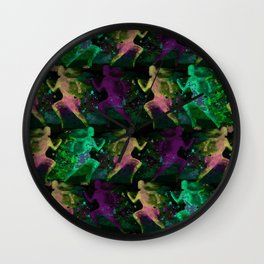 Watercolor women runner pattern on Dark Background Wall Clock