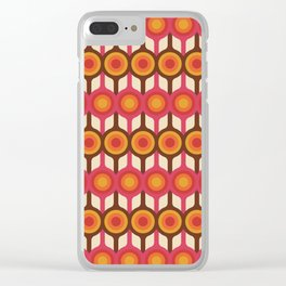 Magenta, Orange, Ivory & Brown Retro 1960s Circle Pattern Clear iPhone Case