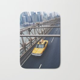New York Cab with Twin Towers in background over Brooklyn Bridge Bath Mat