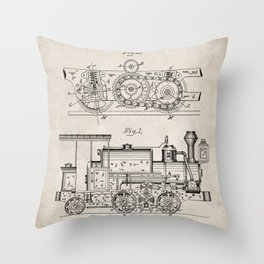 Steam Train Patent - Steam Locomotive Art - Antique Throw Pillow