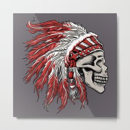skull indian chief in hand drawing  Metal Print