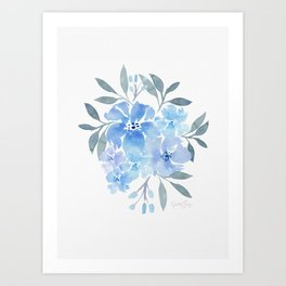 Bloom - Blue Floral Arrangement - Blue Floral Bouquet Art Print