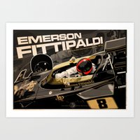 f1 Art Prints featuring Emerson Fittipaldi  - F1 1972 by Evan DeCiren