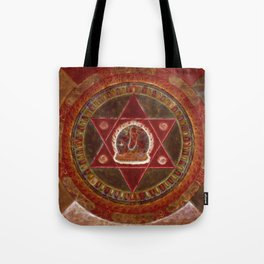 Vajrayogini stands in the center of two crossed red triangles Tote Bag