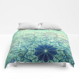 Mandala in Sea Green and Blue Comforters