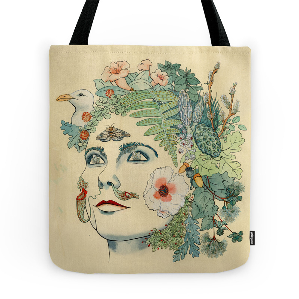 Green Woman: Bjork Tote Purse by liliyadru (TBG7276448) photo
