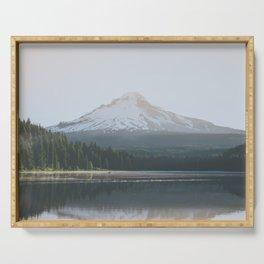 Trillium Lake Sunrise - Nature Photography Serving Tray