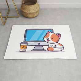 Cute Cat With Computer Coffee Cartoon Icon Illustration Animal Technology Icon Concept Isolated Flat Rug