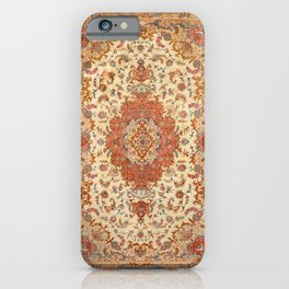 Persia Tabriz 19th Century Authentic Colorful Dusty Tan Red Blush Vintage Patterns iPhone Case