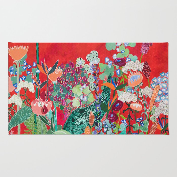 Red floral Jungle Garden Botanical featuring Proteas, Reeds, Eucalyptus, Ferns and Birds of Paradise Rug