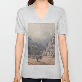 The Esplanade In Ischl by Rudolf von Alt | Reproduction Unisex V-Neck