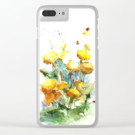 Watercolor yellow dandelion flowers Clear iPhone Case