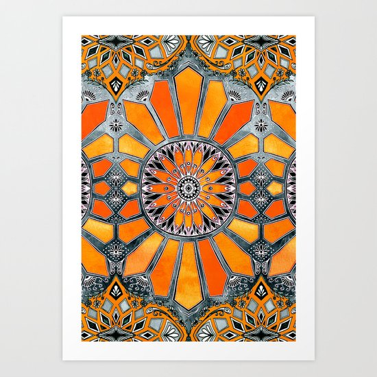Celebrating the 70's - tangerine orange watercolor on grey Art Print