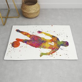Soccer player isolated 02 in watercolor Rug