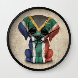 Cute Puppy Dog with flag of South Africa Wall Clock