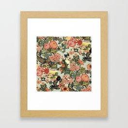 Chinese Dragon Vintage Floral Pattern Framed Art Print