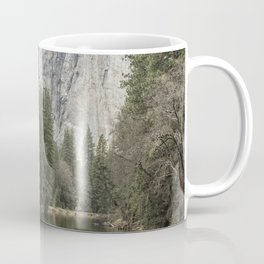 Cathedral Rocks and Spires behind Merced River Coffee Mug