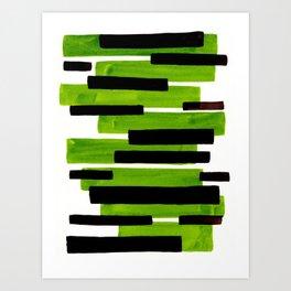 Lime Green Primitive Stripes Mid Century Modern Minimalist Watercolor Gouache Painting Colorful Stri Art Print