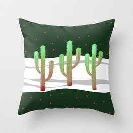 Holidays Cactus Landscape Throw Pillow