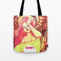 candy Tote Bags featuring Candy by Verismaya