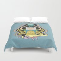 bmo Duvet Covers featuring Time for Adventure with Finn, Jake, BMO, and Lady Rainicorn by MattBlanksArt