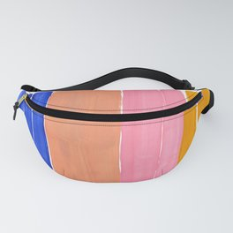 Blue Pink Yellow Tan Colorful Rothko Minimalist Mid Century Modern Color Fields Stripes by Ejaaz Haniff Fanny Pack