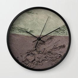 Sea Green Waves on Concrete Wall Clock