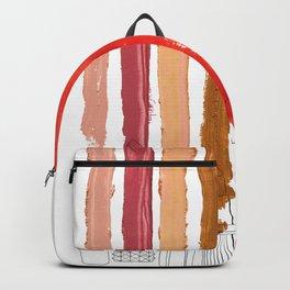 Lipstick Stripes - Red Orange Gold Backpack