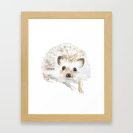 Watercolor Hedgehog Painting - Woodland Animal Art Framed Art Print