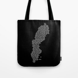 Cities in Sweden - black Tote Bag