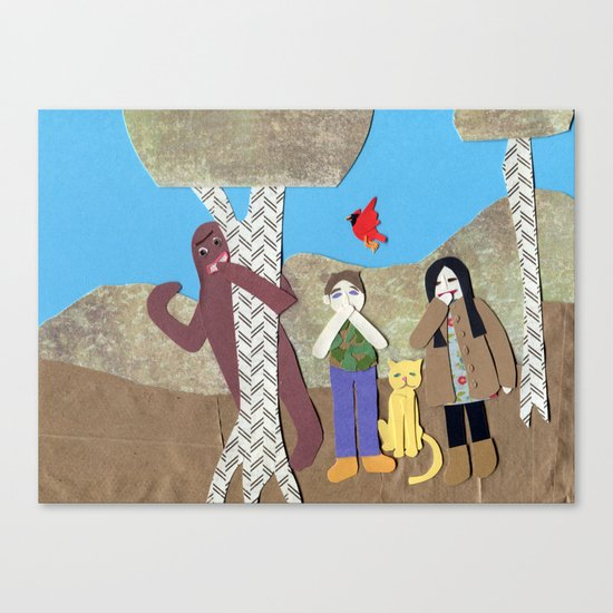 Sasquatch playing Sardines Canvas Print