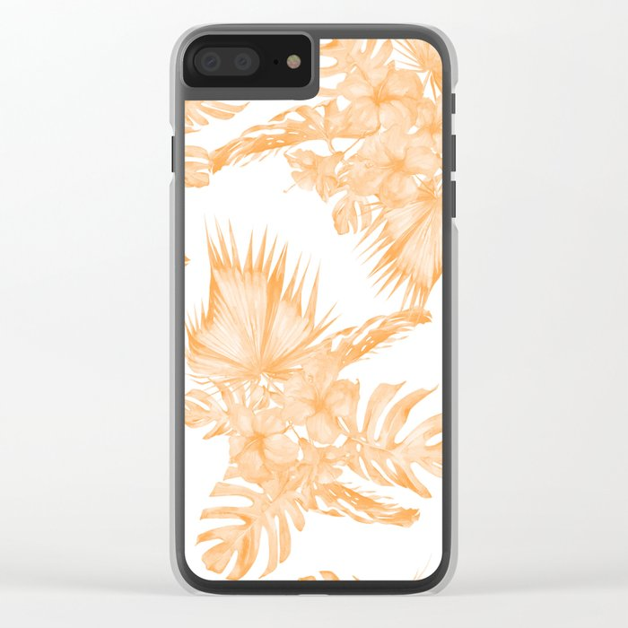 Island Vacation Hibiscus Palm Coral Orange Clear iPhone Case