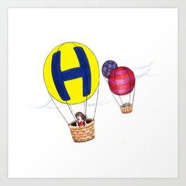 h is for hot-air balloon Art Print