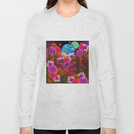 Pink Flowers at Night Long Sleeve T-shirt