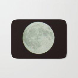 Bright white full moon with black sky Bath Mat