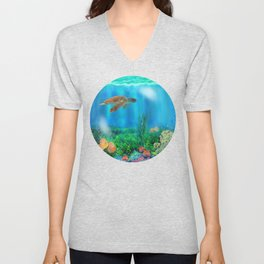 UnderSea with Turtle Unisex V-Neck