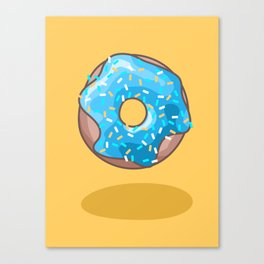 Blue Donut on Yellow Background Canvas Print