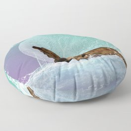 Cute  walrus with water splash Floor Pillow