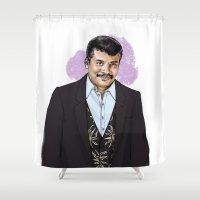 neil gaiman Shower Curtains featuring Neil by Myrtle Quillamor